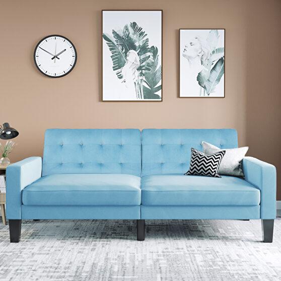 Blue velvet upholstered modern convertible folding futon lounge