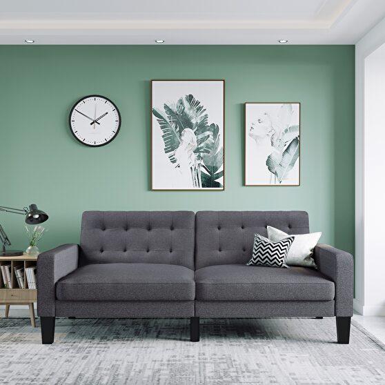 Gray linen upholstered modern convertible folding futon lounge