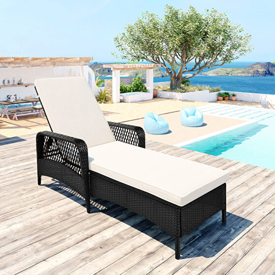 Outdoor patio pool pe rattan wicker chair wicker sun lounger