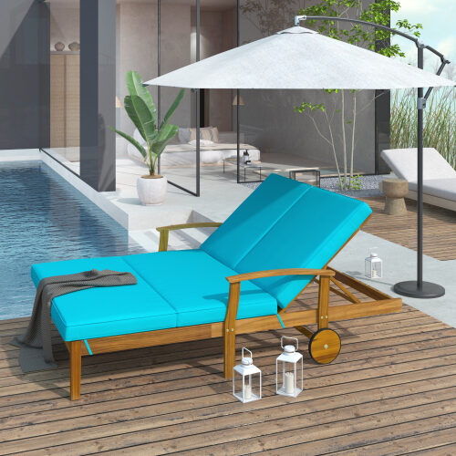 Natural wood finish/ blue cushion outdoor double chaise lounge chair