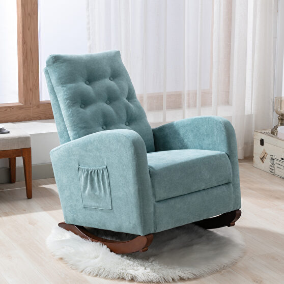Mint green fabric padded seat high back comfortable rocking chair
