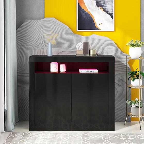 High gloss black sideboard mordern 2-door storage cabinet with led lights