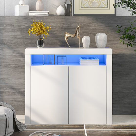 High gloss white sideboard mordern 2-door storage cabinet with led lights