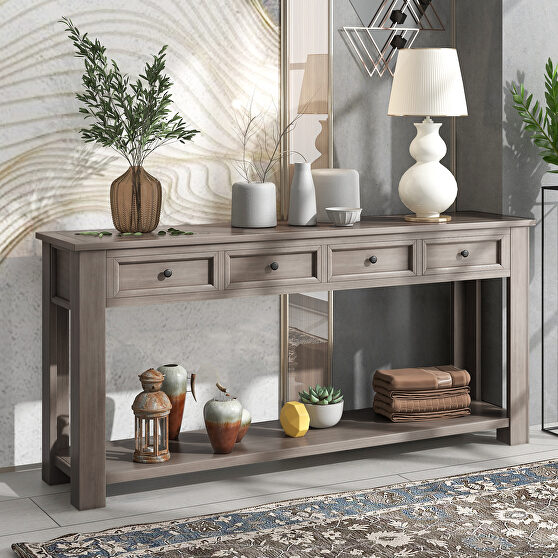 Gray wash console table for entryway hallway sofa table