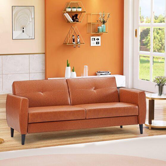 Brown pu leather modern convertible folding futon sofa bed with storage box