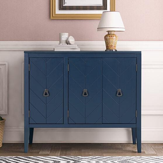 Navy blue modern accent storage wooden cabinet with adjustable shelf