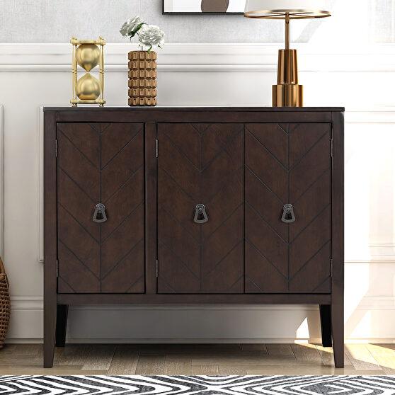 Brown modern accent storage wooden cabinet with adjustable shelf