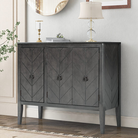 Gray modern accent storage wooden cabinet with adjustable shelf