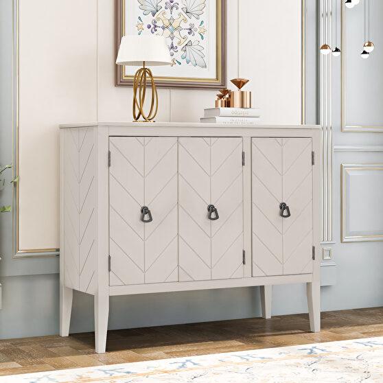 Cream white modern accent storage wooden cabinet with adjustable shelf