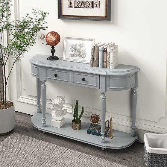 Gray wash retro circular curved design console table with open style shelf
