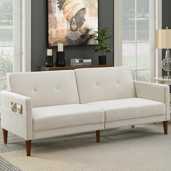 Beige velvet upholstered modern convertible folding futon sofa bed
