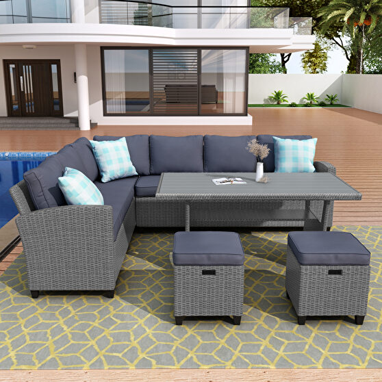 5 piece outdoor conversation set all weather wicker sectional sofa couch dining table chair with ottoman