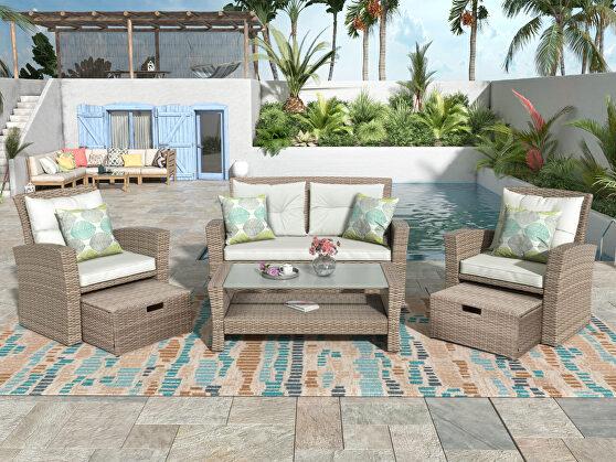 U-style patio furniture 4 piece wicker conversation set w/ beige cushions