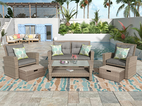 U-style patio furniture 4 piece wicker conversation set w/ gray cushions
