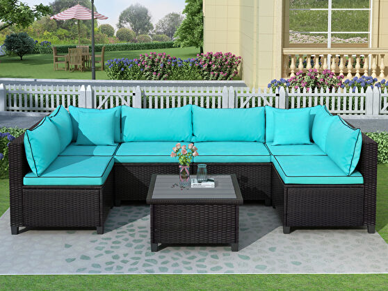 U-shape sectional outdoor furniture set w/ blue cushions