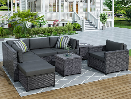 Ustyle 8 piece rattan sectional seating group, patio furniture sets