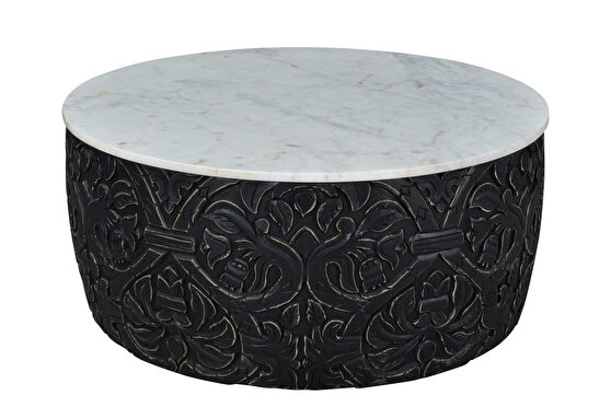 Carved round coffee table with white marble top