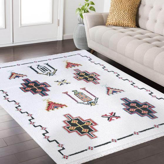 FEZ 3'9 x 5'2 Modern Moroccan White area rug
