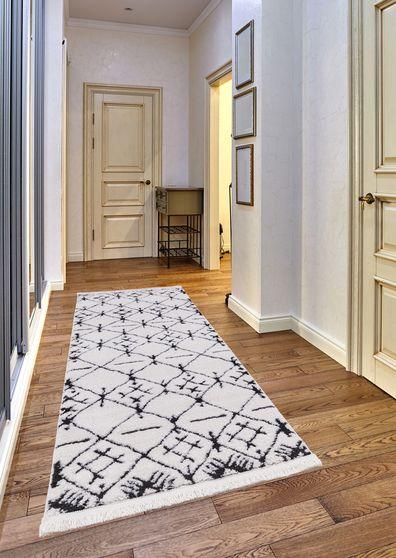 2'3x 7'2 Modern Moroccan White area rug