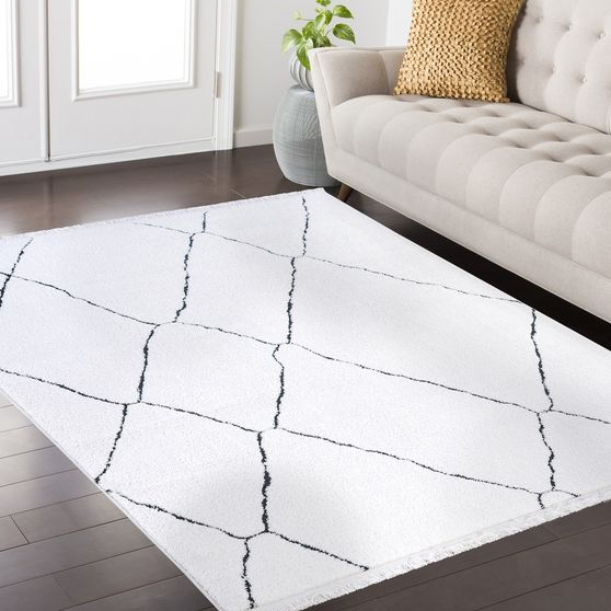 3'9 x 5'2 Modern Moroccan White area rug