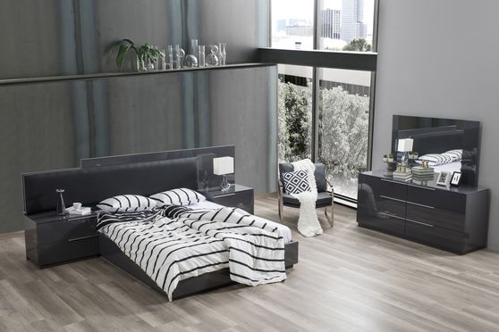 Dark gray contemporary bed w/ upholstered headboard