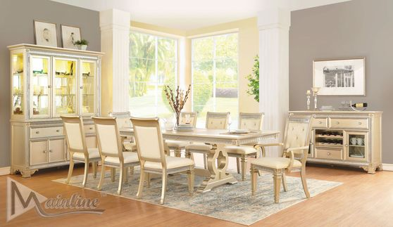 Traditional champagne finish family size dining table