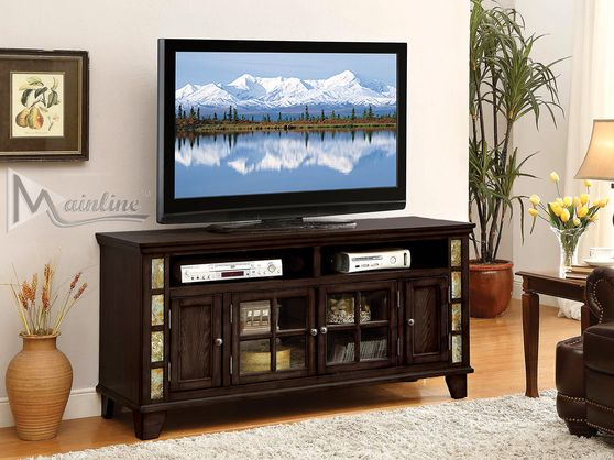 Espresso finish / glass doors TV Stand