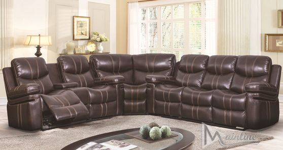 Espresso leatherette recliner sectional sofa