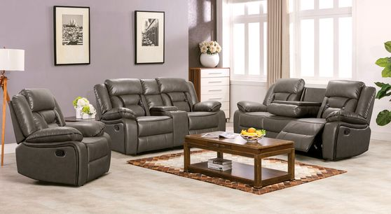 Charcoal leather gel contemporary recliner sofa