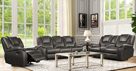 Charcoal leatherette recliner sofa in modern style