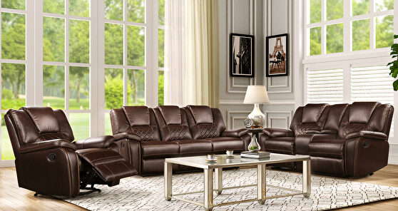 Brown leatherette recliner sofa in modern style