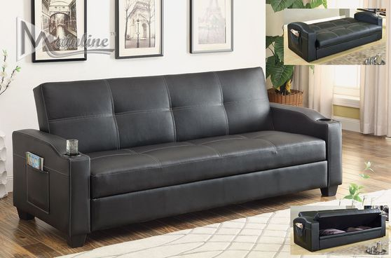 Sofa bed w/ storage and cup holders in black