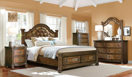 Ash wood finish poster traditional bed