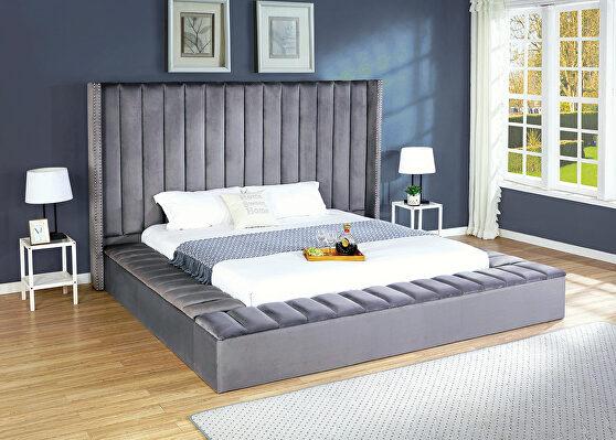 Storage gray velvet king bed w/ solid platform