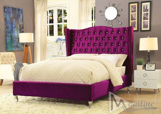Neo-classical upholstered purple bed w/ tufted hb