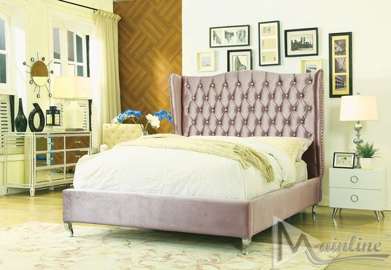 Neo-classical upholstered lt brown bed w/ tufted hb