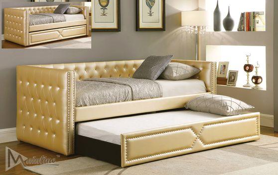 Golden leatherette daybed w/ trundle & 2 platforms