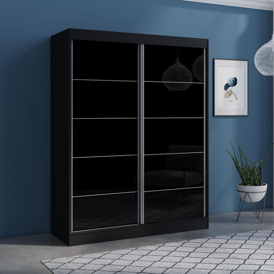 Contemporary wardrobe w/ 2 black doors