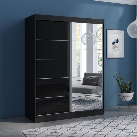 Contemporary wardrobe w/ 1 black / 1 mirrored door