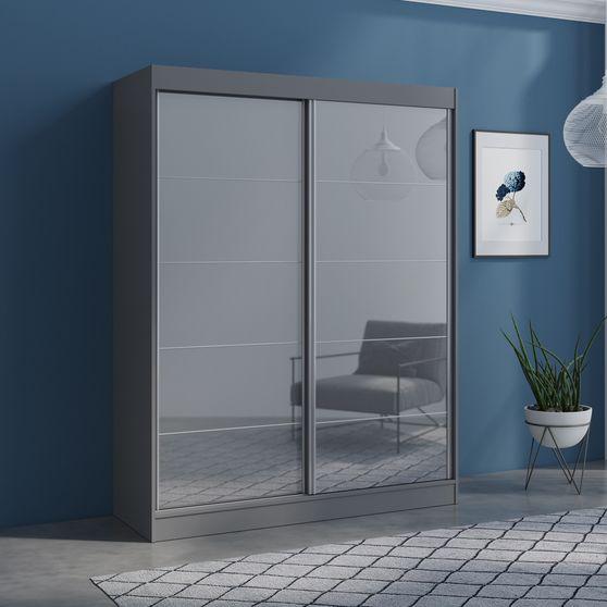 Contemporary wardrobe w/ 2 gray doors