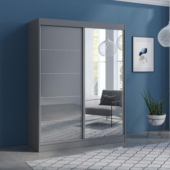 Contemporary wardrobe w/ 1 gray / 1 mirrored door