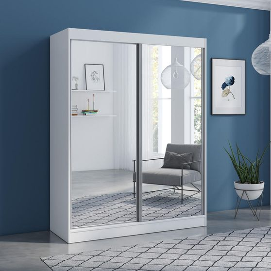 Contemporary wardrobe w/ 2 mirrored doors
