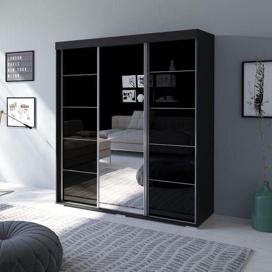Contemporary wardrobe w/ 1 mirrored door