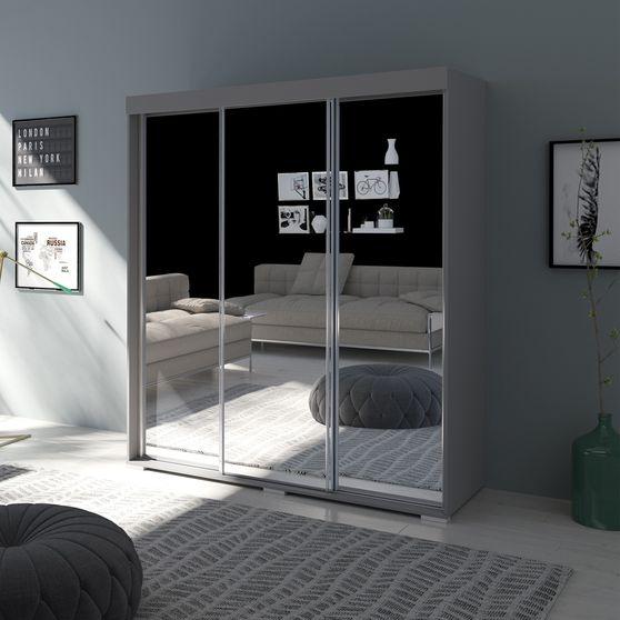 Contemporary wardrobe w/ 3 mirrored doors
