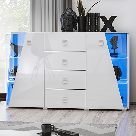 Contemporary white 59-inch sideboard / display