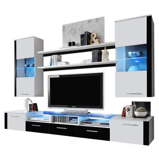 Contemporary Wall-Unit in White/Black