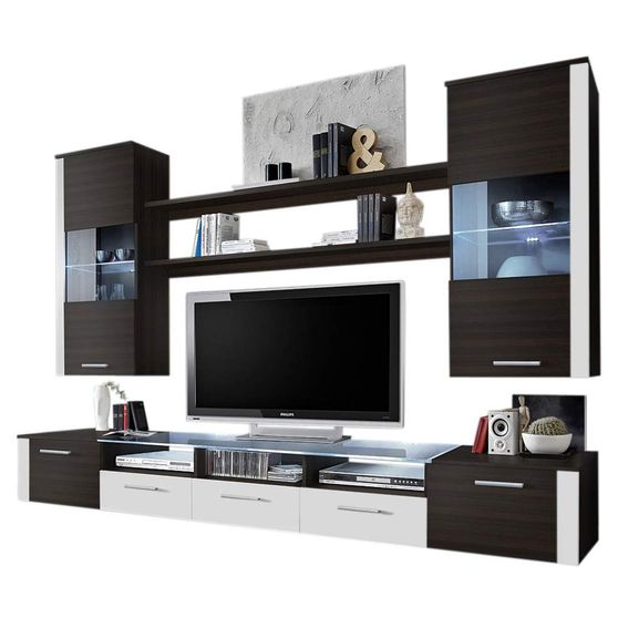 Contemporary Wall-Unit in Wenge/White