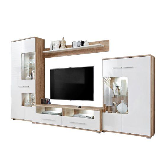 EU-made wall-unit in white / oak wood