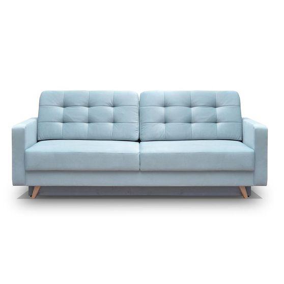 EU-made sofa bed w/ storage in blue fabric