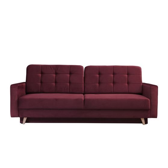 EU-made sofa bed w/ storage in burgundy fabric